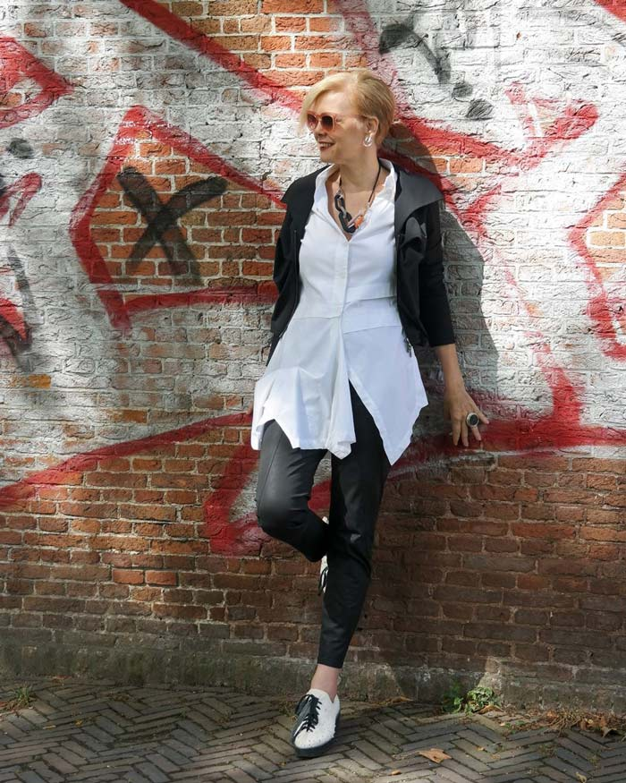 Leather jacket and pants white top   40plusstyle.com