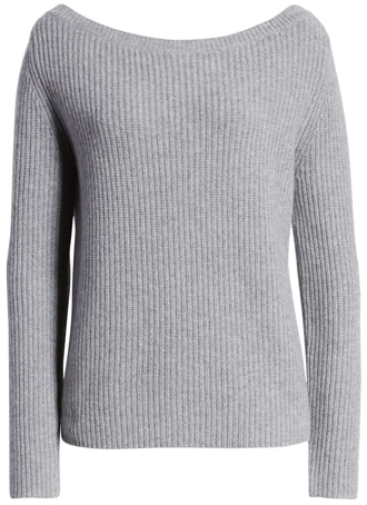 a wide-neck cashmere sweater | 40plusstyle.com
