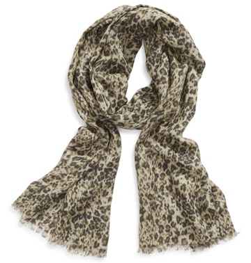 ALLSAINTS leopard print fringed scarf | 40plusstyle.com