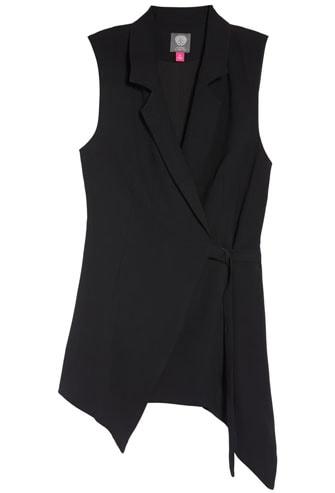 asymmetrical wrap vest | 40plusstyle.com