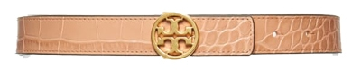 Tory Burch croc embossed leather belt | 40plusstyle.com