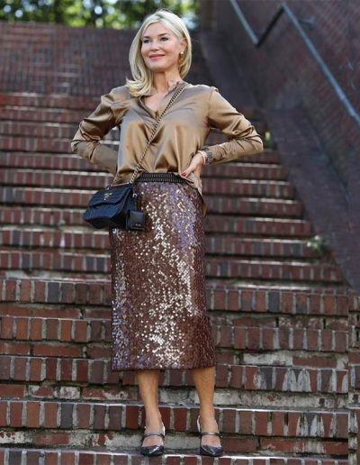 glam personalty - silk blouse, sequin skirt and heels | 40plusstyyle.com