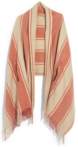 Madewell stripe cape scarf | 40plusstyle.com