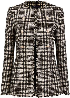 Marks & Spencer tweed checked longline blazer | 40plusstyle.com