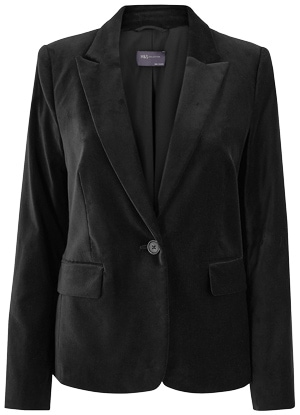 Marks & Spencer velvet fitted blazer | 40plusstyle.com