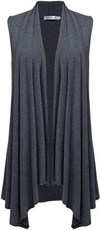 Meaneor asymmetrical sleeveless cardigan | 40plusstyle.com