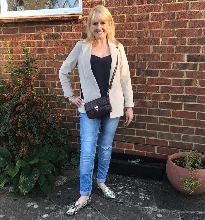 Michelle wearingclassic blazer, jeans and booties | 40plusstyle.com