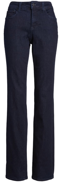 NYDJ high waist stretch straight leg jeans | 40plusstyle.com