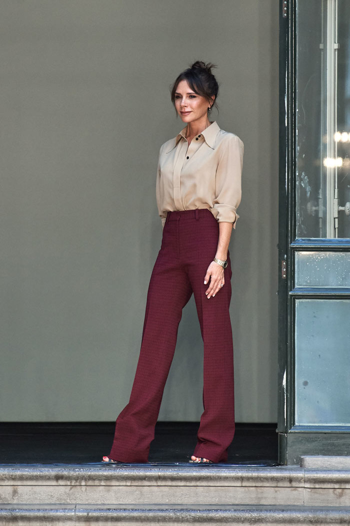 Victoria Beckham blouse and pants | 40plusstyle.com