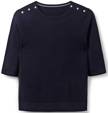 Boden button shoulder sweater | 40plusstyle.com