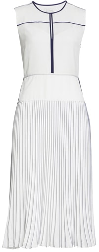 Club Monaco tipped pleated dress | 40plusstyle.com