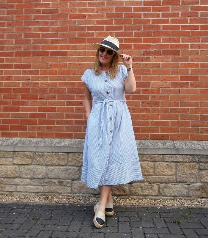 Vertical stripe midi dress for women over 40 | 40plusstyle.com