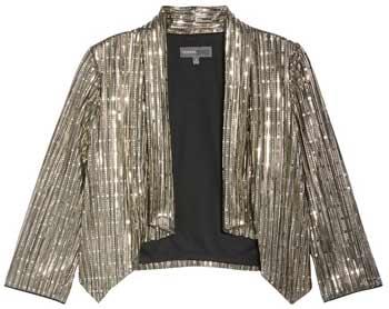 shrugs and boleros for evening dresses: Donna Ricco sequin stripe bolero | 40plusstyle.com