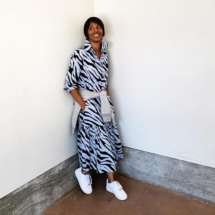 Pairing a midi dress with sneakers | 40plusstyle.com