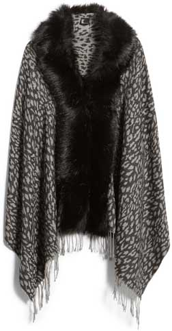shrugs and boleros for evening dresses: Love Token faux fur trim knit wrap | 40plusstyle.com