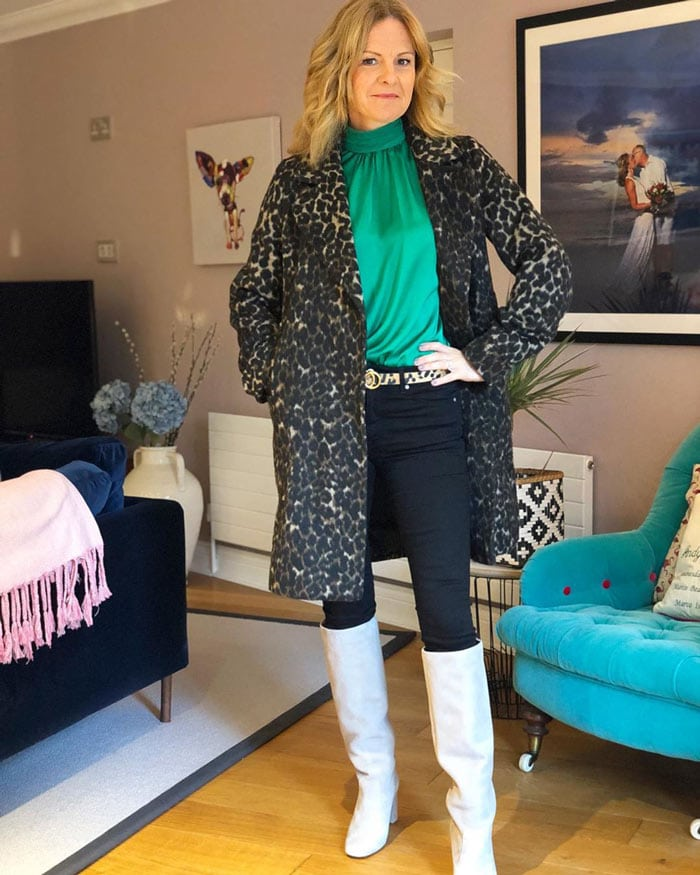 play with textures: silk top, wool coat   40plusstyle.com