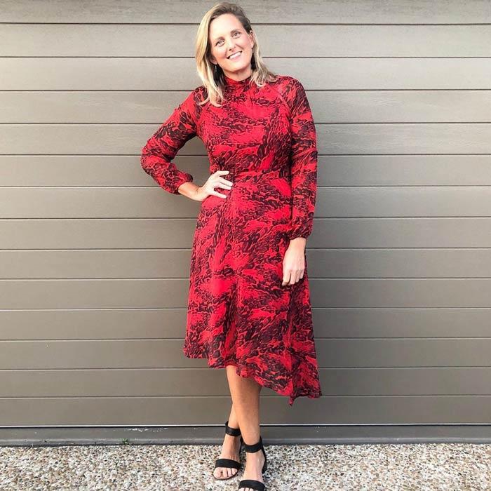 A chic asymmetrical midi dress | 40plusstyle.com