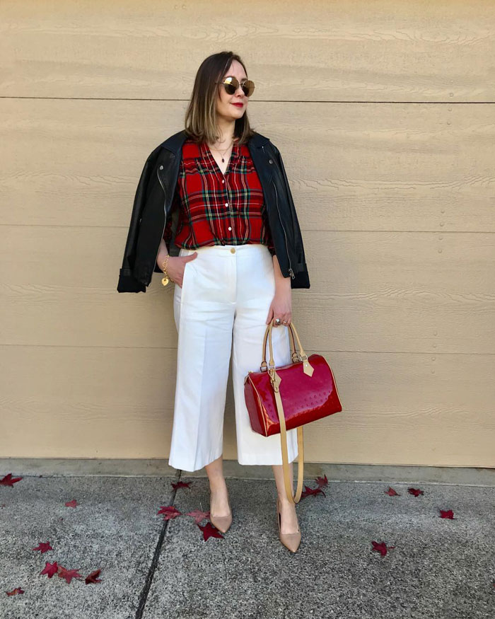 wide leg pants with tucked in fitted shirt and short jacket | 40plusstyle.com