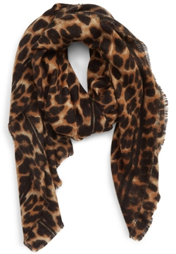 Sole Society leopard print blanket scarf | 40plusstyle.com