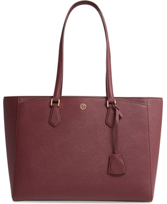 Gift ideas for women - Tory Burch Robinson Saffiano leather tote | 40plusstyle.com