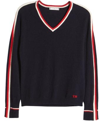 Tommy Hilfiger v-neck sweater | 40plusstyle.com