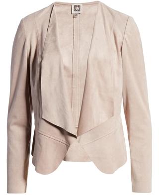 Anne Klein drap front faux suede jacket | 40plusstyle.com