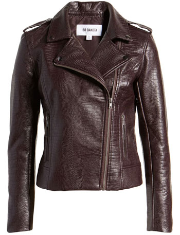 best leather jackets for women: BB Dakota snake embossed faux leather moto jacket | 40plusstyle.com