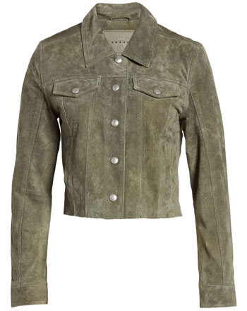Blank NYC crop suede trucker jacket | 40plusstyle.com