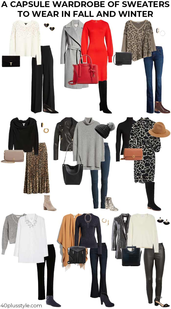 A capsule wardrobe of sweaters to wear in fall and winter | 40plusstyle.com