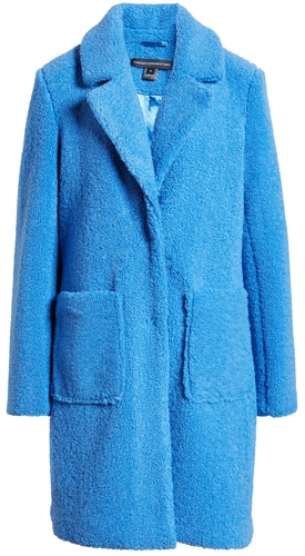 French Connection notch collar faux shearling coat | 40plusstyle.com
