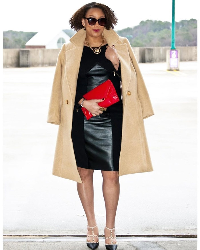 Holiday party outfit idea: little black dress with wool coat | 40plusstyle.com