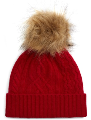 Halogen cable cashmere pom beanie | 40plusstyle.com