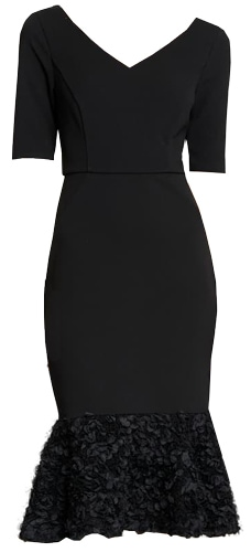 Halston Heritage embellished flare hem midi dress | 40pusstyle.com