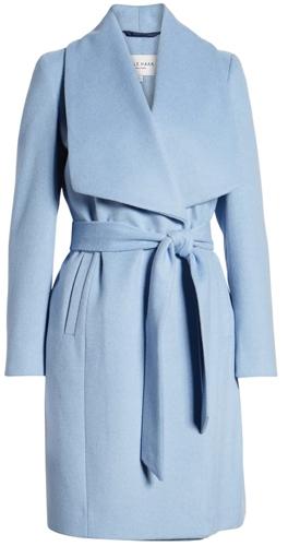 Cole Haan Signature slick wool blend wrap coat | 40plusstyle.com
