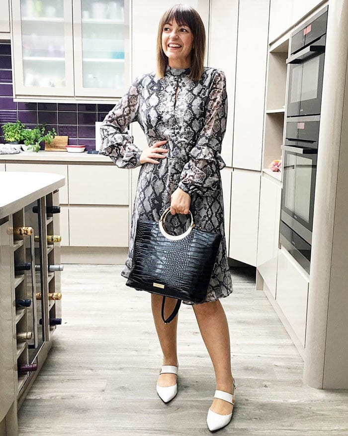 Lizzi of Loved by Lizzi in snake print | 40plusstyle.com