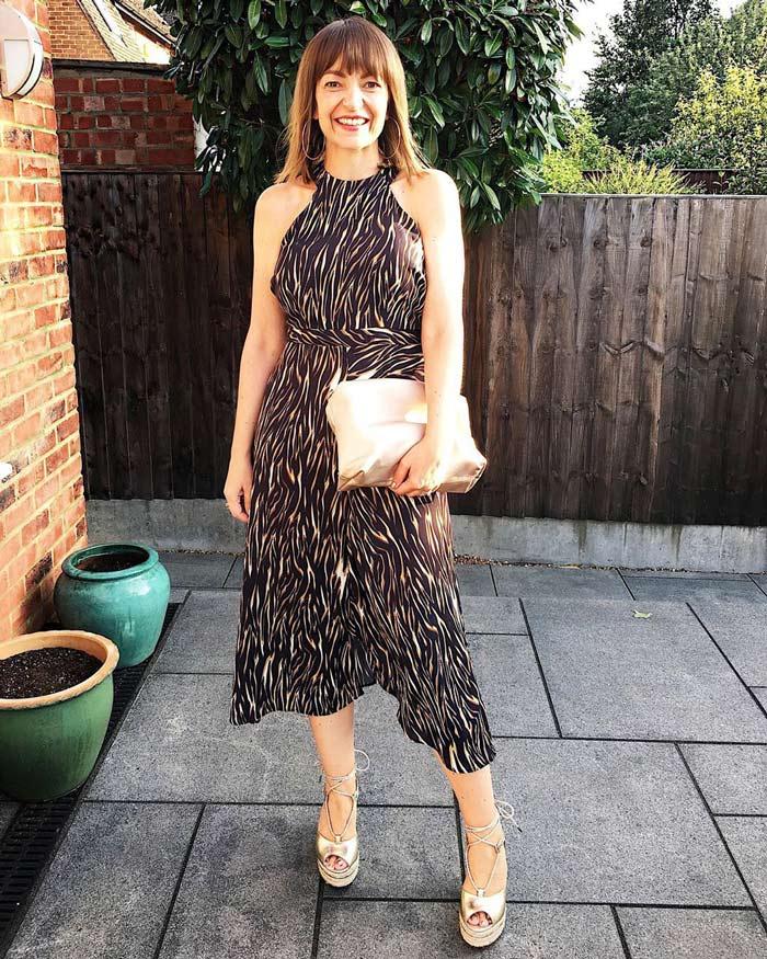 A halterneck dress outfit | 40plusstyle.com
