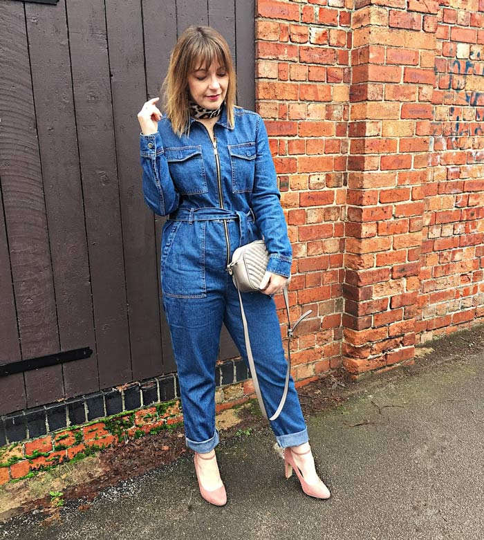 Lizzie in a belted jumpsuit   40plusstyle.com