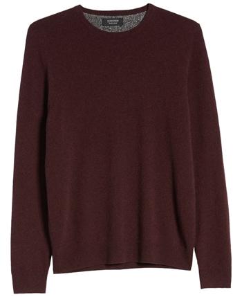 Christmas gift ideas for men: Nordstrom Men's Shop cashmere crewneck sweater   40plusstyle.com