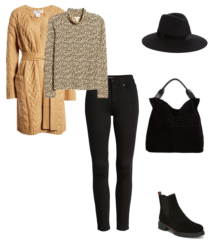 a belted cardigan to stay warm | 40plusstyle.com