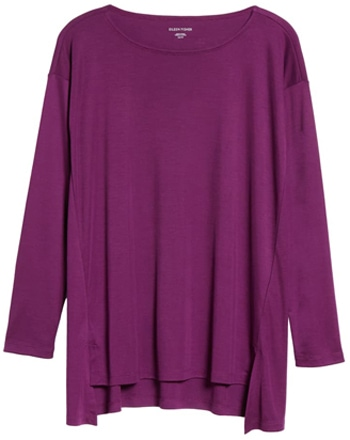 Eileen Fisher ballet neck long sleeve top | 40plusstyle.com