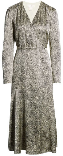 Rachel Parcell cheetah print satin wrap dress | 40plusstyle.com