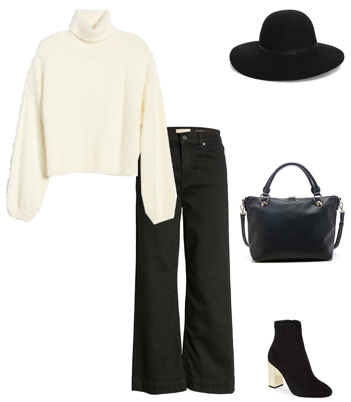 how to wear a sweater: tucked into wide leg pants | 40plusstyle.com