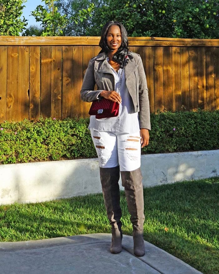 leather jacket worn with button down shirt, jeans and over the knee boots | 40plusstyle.com
