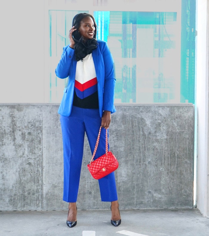Tanasha wearing a sweater with her blazer coordinates | 40plusstyle.com