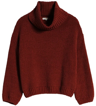Woven Heart Chenille turtleneck sweater | 40plusstyle.com