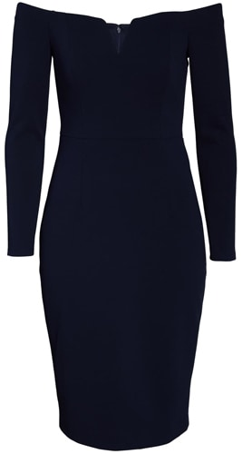 Vince Camuto off the shoulder sheath dress | 40pusstyle.com