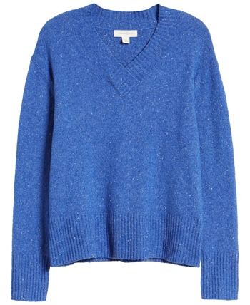 Treasure & Bond cozy nep flecked v-neck sweater   40plusstyle.com