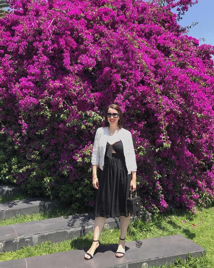 white lace bolero over a black dress | 40plusstyle.com