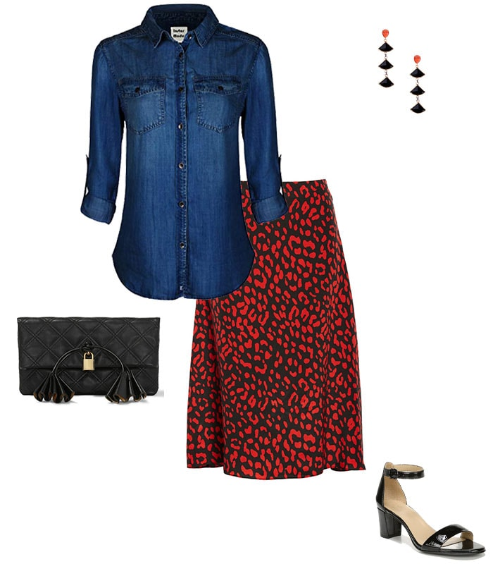 A denim shirt & dressy skirt | 40plusstyle.com