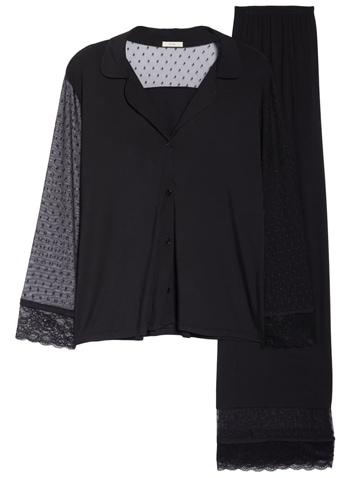 Eberjey black lace sleeve pajamas | 40plusstyle.com
